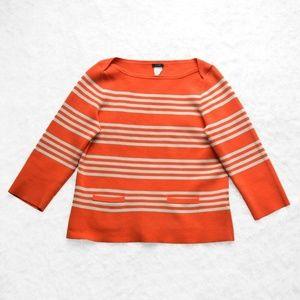 J Crew Popover Top Striped Orange 3/4 Sleeve Sz M